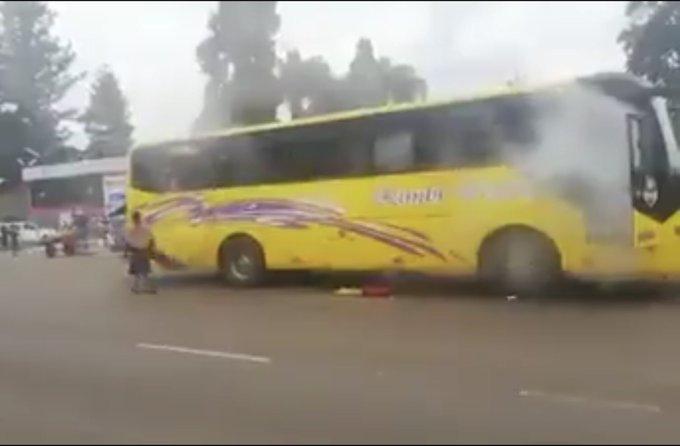 Police tear gas bus