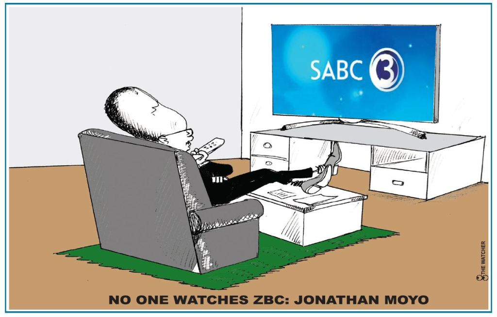 Jonathan Moyo watching SABC 3