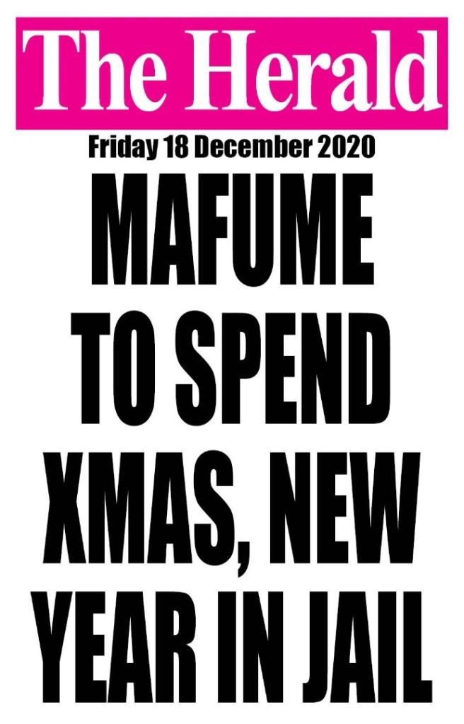 Mafume to spend Christmas in Jail
