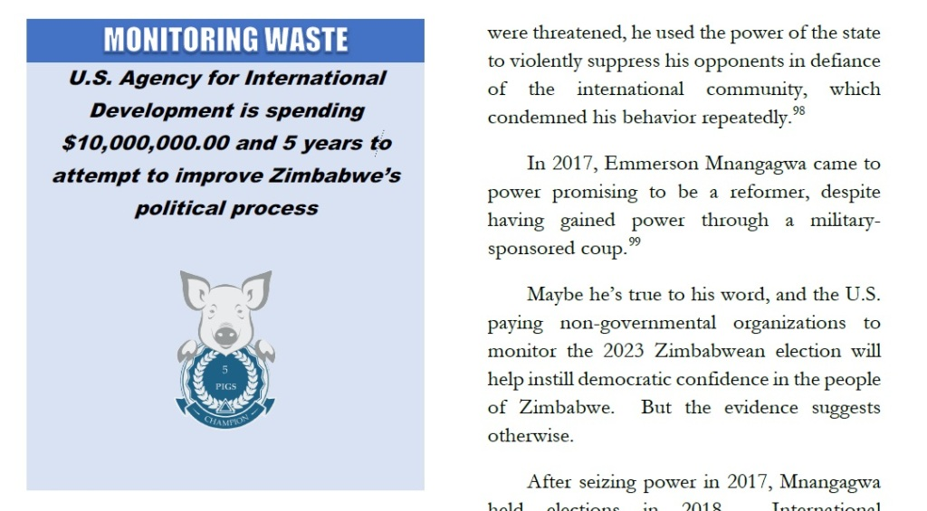Festivus Report US spending 10 million to improve Zimbabwe's political  process