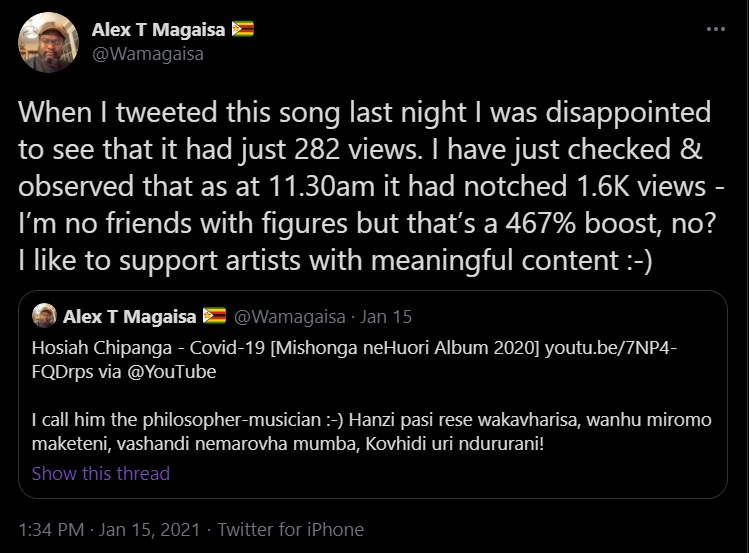 Alex Magaisa tweeting on Hosiah Chipanga