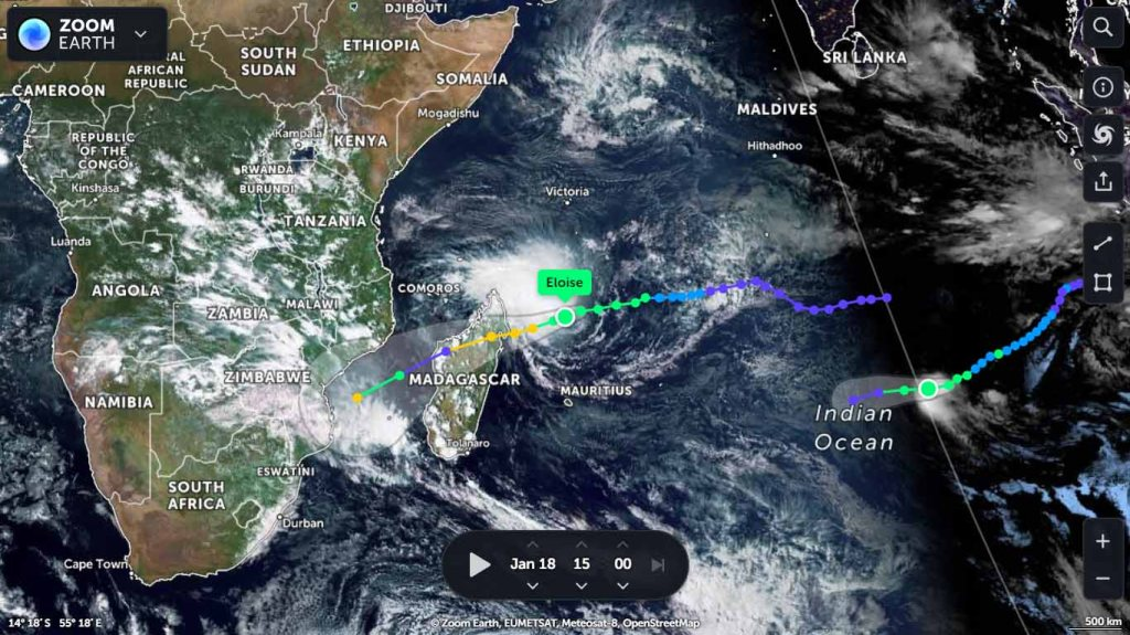 Cyclone Eloise projected to hit Madagascar, Mozambique and parts of Zimbabwe and South Africa Cyclone Joshua