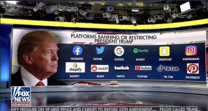 Platforms banning or restricting Trump