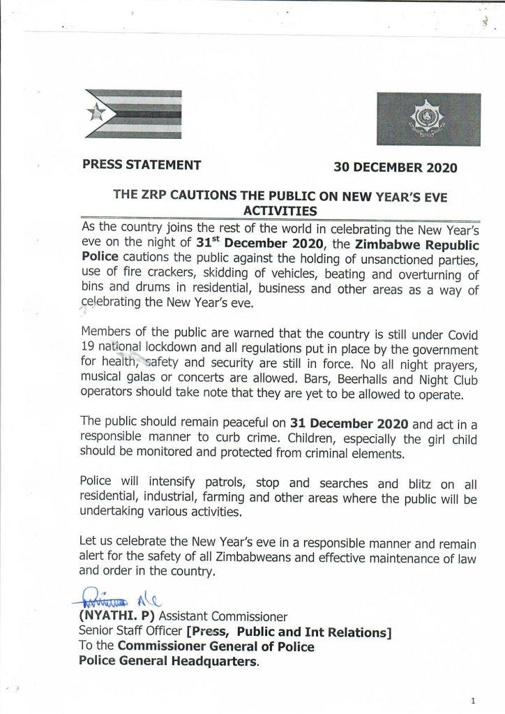 caution on New Year activities in Zimbabwe due to covid