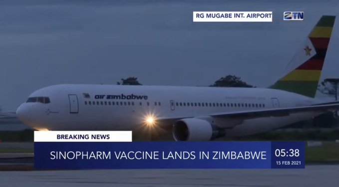 sinopharm vaccine lands in Zimbabwe