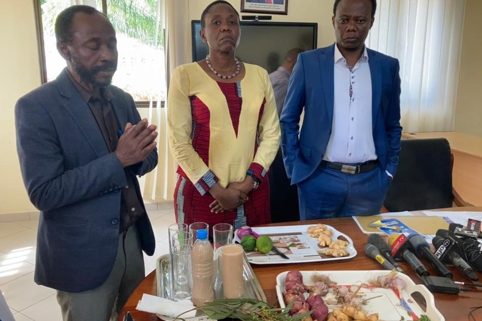 Tanzania health minister demonstrates how to make a vegetable smoothie that she said, would protect against coronavirus
