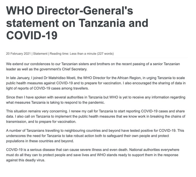 WHO Statement on Tanzania