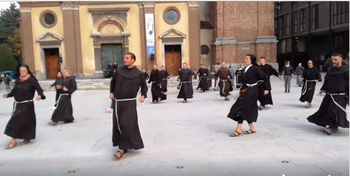 Legnano, Italy, a group of priests and sisters doing the Jerusalema