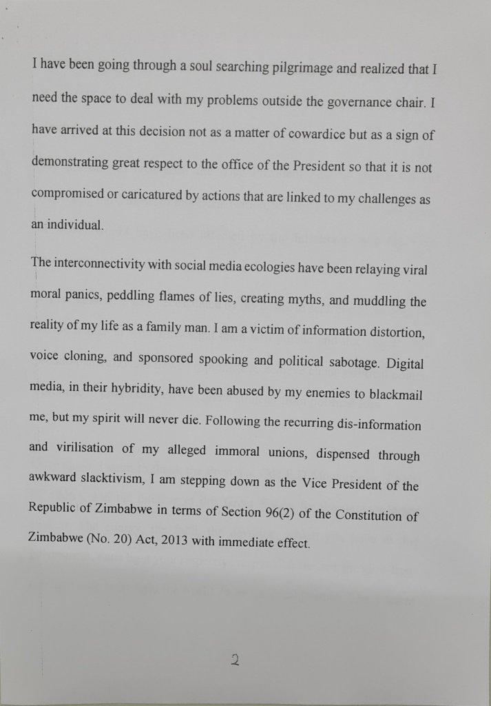 Zim Vice President resignation