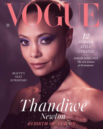 Thandiwe Newton Vogue Cover May 2021 Wearing Fendi Haute Couture on her British Vogue cover.   © Mikael Jansson