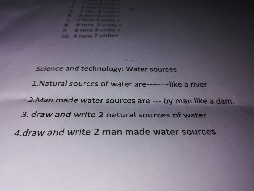 science and technology homework water sources grade 3