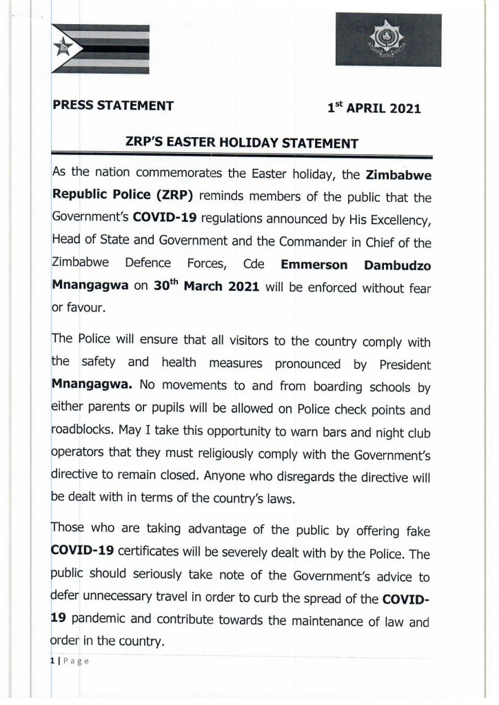 ZRP EaSter holiday statement