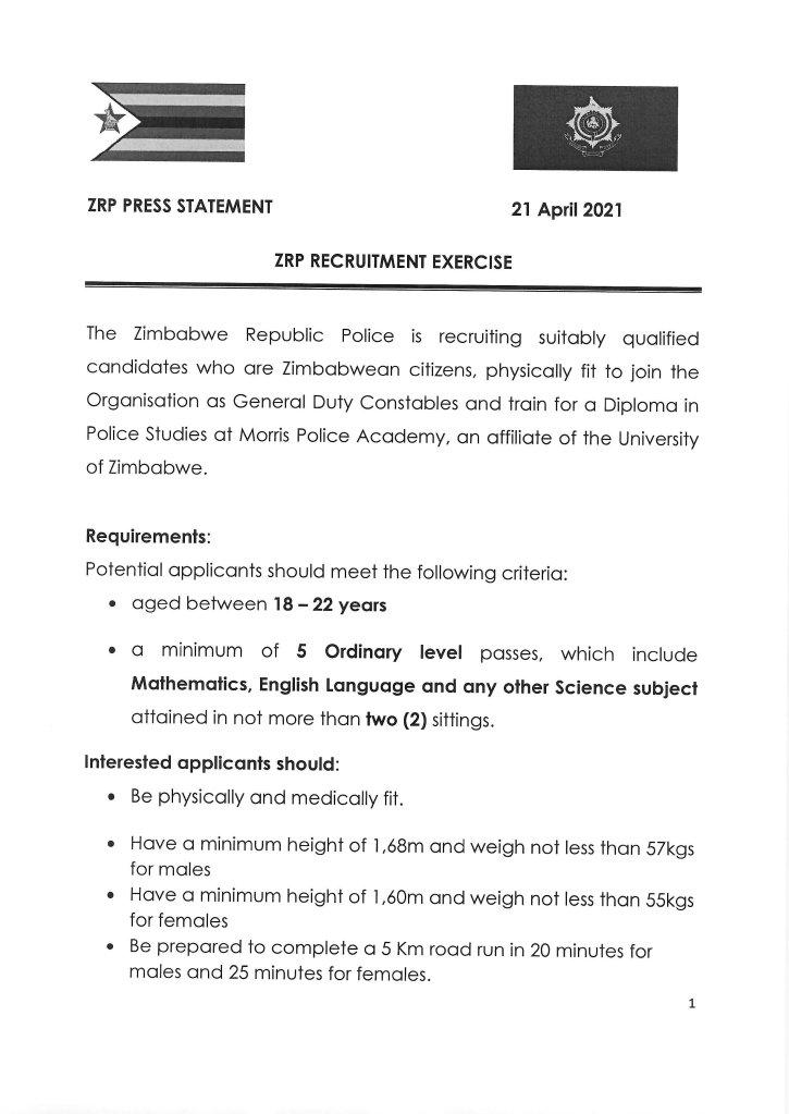 ZRP Recruitment Drive