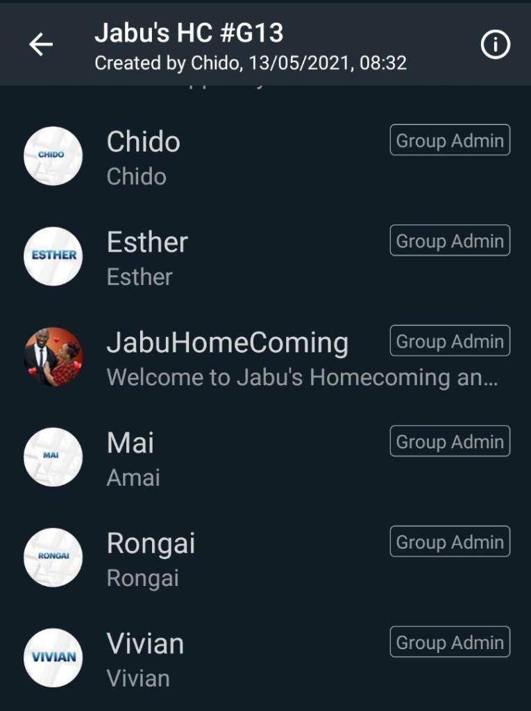 Jabu's homecoming WhatsApp Group