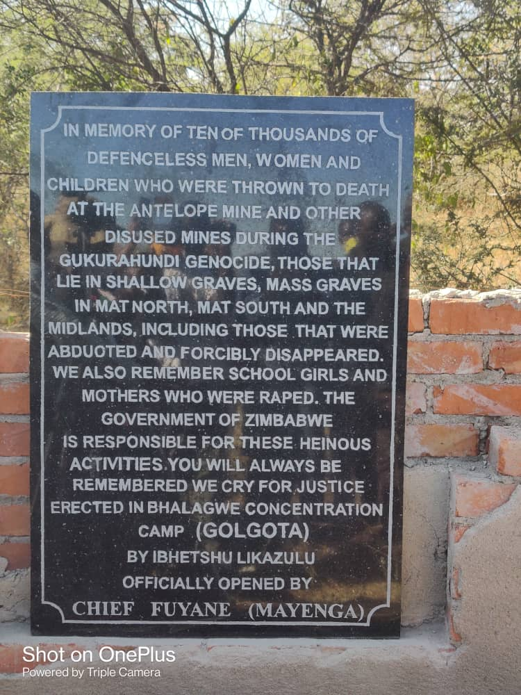 Bhalagwe Memorial plaque  officially opened by Chief Fuyane