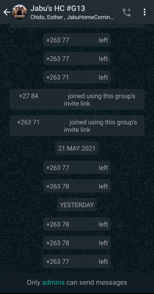 Jabu's homecoming WhatsApp Group exit