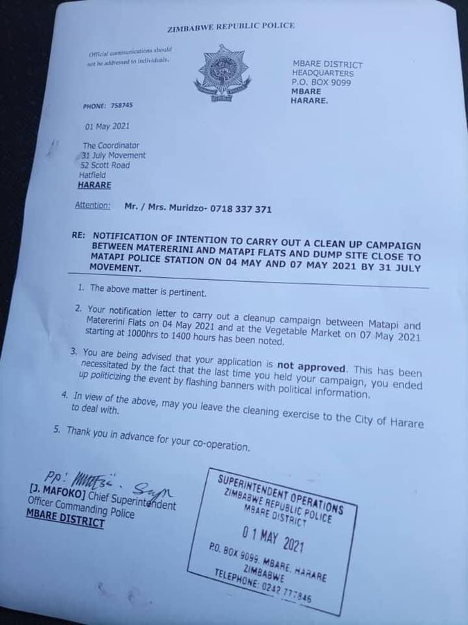 ZRP Cleanup reponse