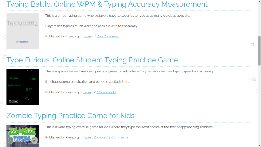 typing games from plays.org
