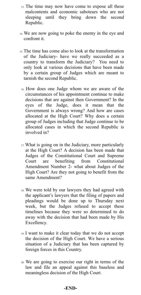 Ministry of justice legal and parliamentary comments by Minister of Justice
