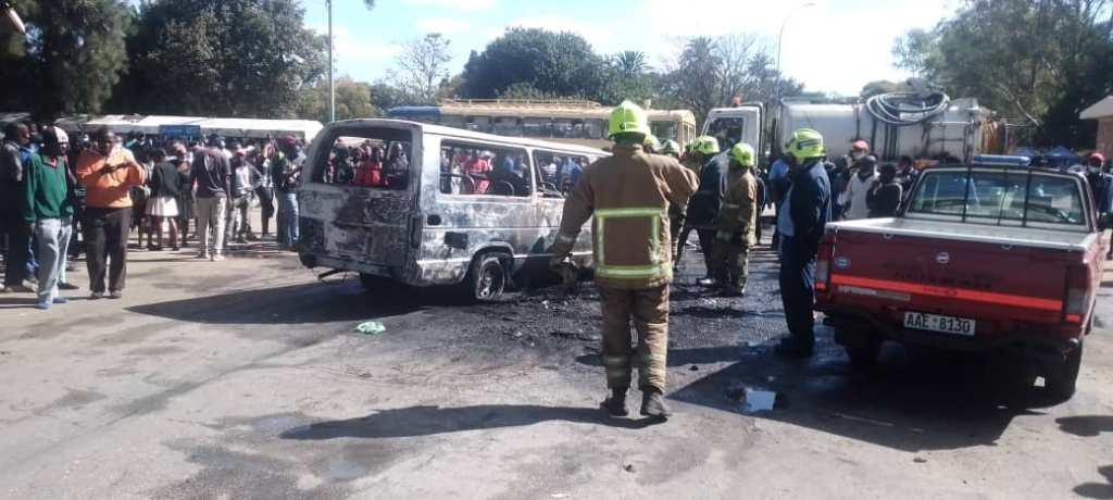 Public taxi van burnt in a melee Bulawayo, Zimbabwe