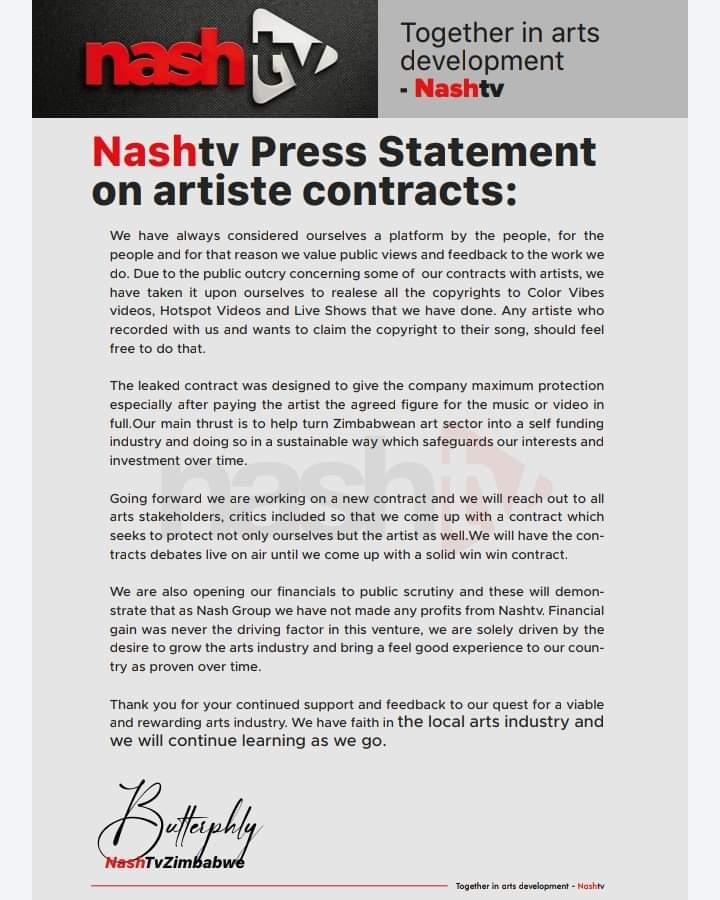 Nashtv press Statement on artiste contract