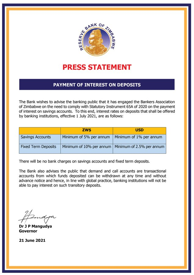RBZ statement on payment of interest on deposits