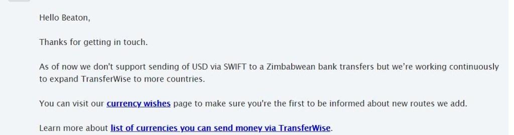 Transferwise does not send to Zimbabwe