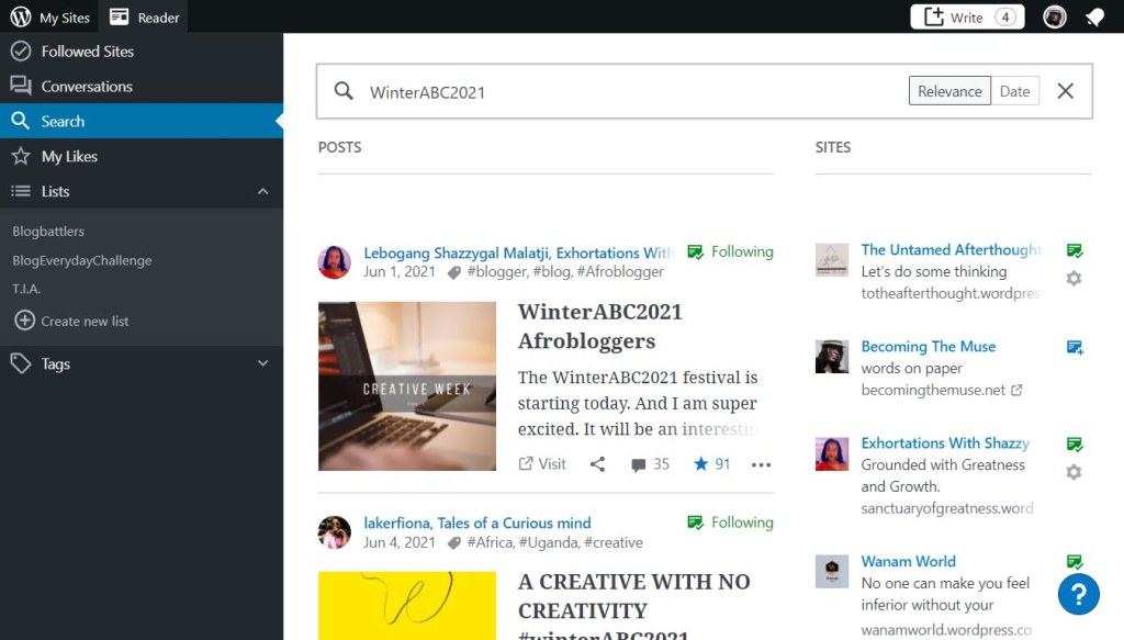 Searching in WordPress Reader
