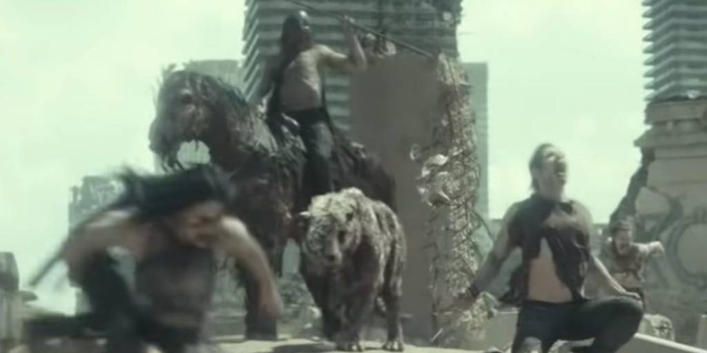 Zeus - Army Of the dead in a cape riding a zombie horse