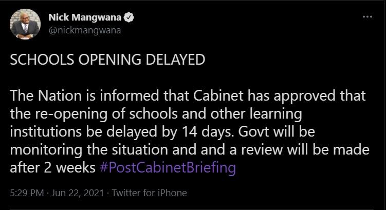 Schools opening delayed