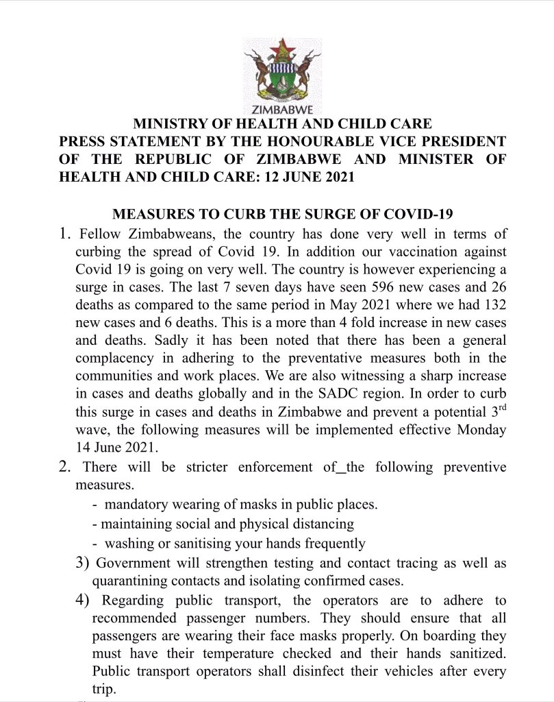 Ministry of Health Zimbabwe June 2021 Covid-19 measures