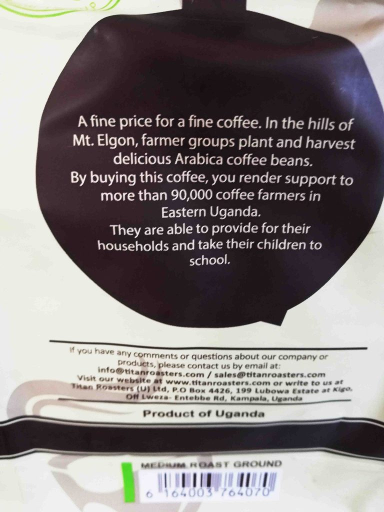 Grown in hills of Mt Elgon Afrikano Coffee