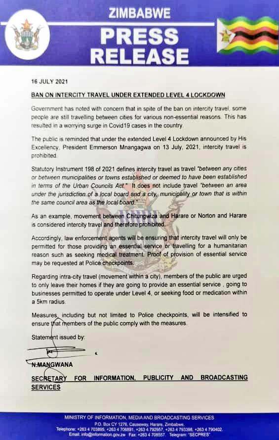 Ban Intercity Travel Zimbabwe