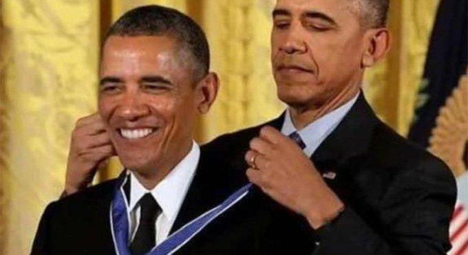 Obama giving Obama a medal