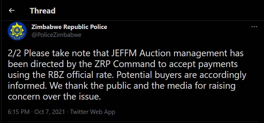 Please take note that JEFFM Auction management has been directed by the ZRP Command to accept payments using the RBZ official rate. Potential buyers are accordingly informed. We thank the public and the media for raising concern over the issue.